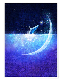 Premiumposter Blue whale and crescent
