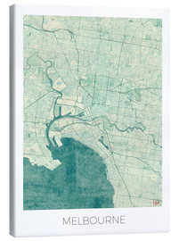 Canvastavla  Melbourne Map Blue - Hubert Roguski