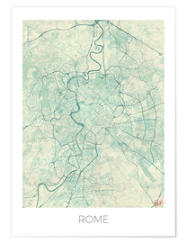 Premiumposter  Rome Map Blue - Hubert Roguski