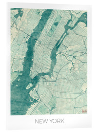 Akrylglastavla  Map of New York, Blue - Hubert Roguski