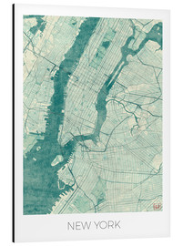 Aluminiumtavla  Map of New York, Blue - Hubert Roguski