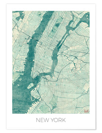 Premiumposter  Map of New York, Blue - Hubert Roguski