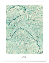 Premiumposter  Paris Map Blue - Hubert Roguski