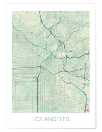 Premiumposter  Los Angeles Map Blue - Hubert Roguski