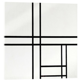 Akrylglastavla  Composition in black and white, with double lines - Piet Mondriaan