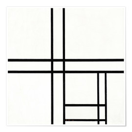 Premiumposter  Composition in black and white, with double lines - Piet Mondriaan