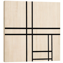 Trätavla  Composition in black and white, with double lines - Piet Mondriaan