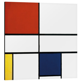 Aluminiumtavla  Composition c no iii with red yellow and blue - Piet Mondrian