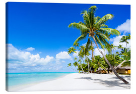 Canvastavla  Palm beach in the South Pacific with white sand and blue sea - Jan Christopher Becke