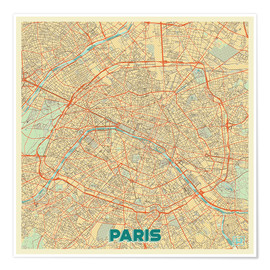 Premiumposter Paris Map Retro