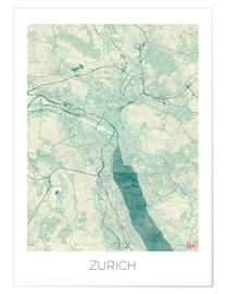 Premiumposter  Zurich Map Blue - Hubert Roguski