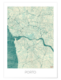 Premiumposter  Porto Map Blue - Hubert Roguski