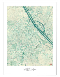 Premiumposter  Map of Vienna, blue - Hubert Roguski