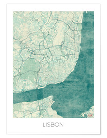 Premiumposter  Lisbon map blue - Hubert Roguski
