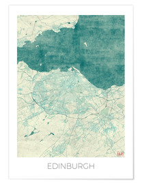 Premiumposter  Edinburgh Map Blue - Hubert Roguski