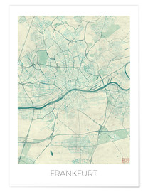 Premiumposter  Frankfurt, Germany Map Blue - Hubert Roguski