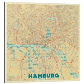 Aluminiumtavla  Hamburg, Germany Map Retro - Hubert Roguski