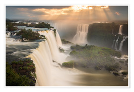 Premiumposter  Waterfalls at sunset - Alex Saberi
