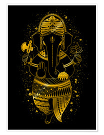 Premiumposter golden Ganesha