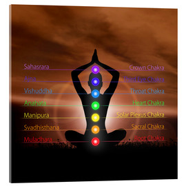 Akrylglastavla  Chakras in evening sky