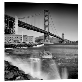 Akrylglastavla  Golden Gate Bridge with breakers - Melanie Viola