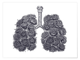 Premiumposter Lungs with peonies