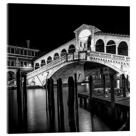 Akrylglastavla  VENICE Rialto Bridge at Night - Melanie Viola
