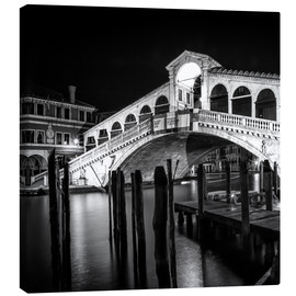 Canvastavla  VENICE Rialto Bridge at Night - Melanie Viola