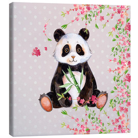 Canvastavla  Little panda bear with bamboo and cherry blossoms - UtArt