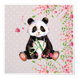 Premiumposter  Little panda bear with bamboo and cherry blossoms - UtArt