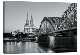 Canvastavla  Cologne at night, black and white - Michael Valjak