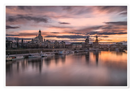 Premiumposter  sunset Dresden - Achim Thomae