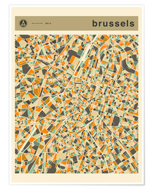 Premiumposter BRUSSELS MAP