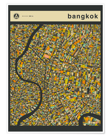 Premiumposter  BANGKOK MAP - Jazzberry Blue
