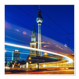 Premiumposter Berlin - TV Tower / Light Trails