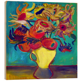 Trätavla  Sunflower in front of turquoise wall - Diego Manuel Rodriguez