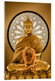 Akrylglastavla  Buddha statue and Wheel of life background