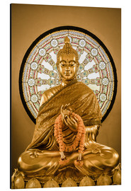 Aluminiumtavla  Buddha statue and Wheel of life background
