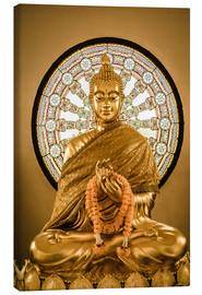 Canvastavla  Buddha statue and Wheel of life background