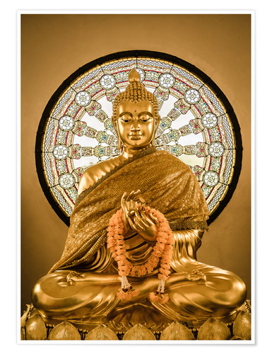 Premiumposter Buddha statue and Wheel of life background