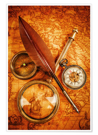 Premiumposter  Compass and Clock