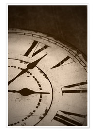 Poster  picture of an old vintage clock