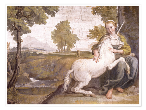 Premiumposter Young woman with a white unicorn in her arms