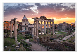 Poster Dramatic sunrise at the Roman Forum in Rome, Italy