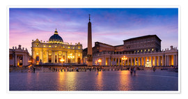Premium poster St. Peter's Square and St. Peter's Basilica at night, Rome, Italy