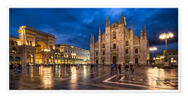 Premiumposter Cathedral Square and Cathedral of Milan at night, Milan, Italy
