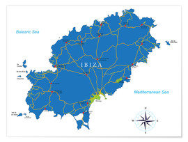 Premiumposter  Ibiza Map