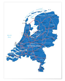 Premiumposter Map Netherlands