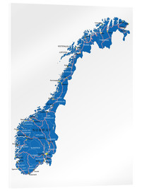 Akrylglastavla  Map Norway