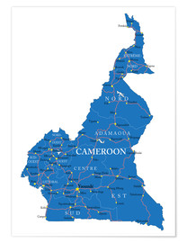 Premiumposter Map Cameroon